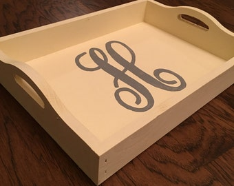 Single Initial Serving Tray Decor