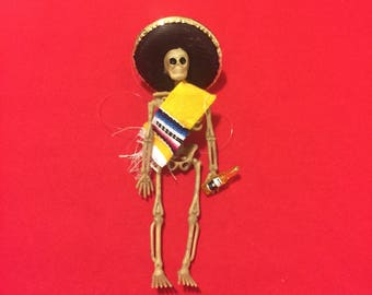 Yellow Sarape day of the dead skeleton ornament with a beer #6