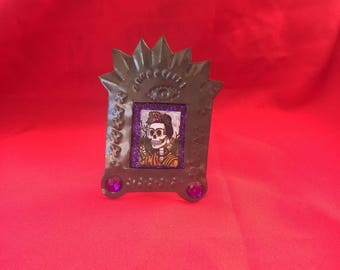 Purple frida Handmade Tin eye Nicho Standing Frame