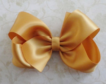 cd2eb92a91176 Large Gold Satin Twisted Boutique Bow - Christmas Hair Bow -Baby Hair Bow - Girls  Satin HairBow - Childrens Accessories