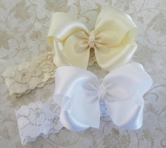 dc9e192c6e795 Grand Ivoire ou blanc noeud Satin dentelle serre-tête - bandeau bébé -  filles de fleur noeud de ...