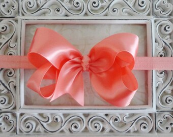 Large Coral Peach Satin Bow Headband - Baby Headband - Flower Girls - Girls Headband - Satin Bow - Great Photo Prop