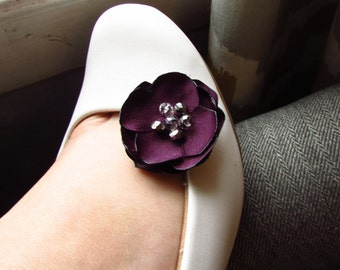 d61a0dccecdce4 Purple Eggplant Wedding Shoe Clips