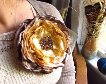 cda30d586 Big Brooch Extra Large Silk Fabric Flower Broach Oversized XL Floral Pin  for Dress, Champagne Gold Taupe Beaded, Crystal, jumbo Sunflower