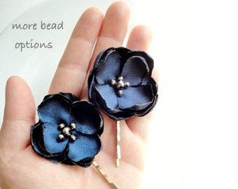 2 Small Navy Blue Flower Hair Pins, Navy Wedding Hair Accessories, Navy Hair Flowers, Silk Flower Bobby Pin, Hairpiece, Navy Shoe Clip Pearl
