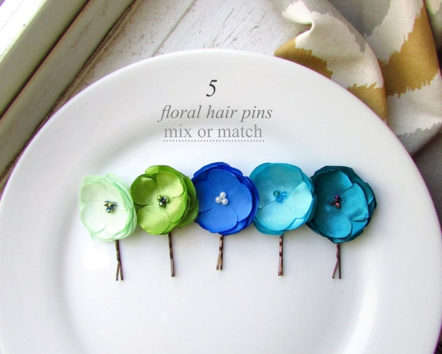 More Colors 5 Small Silk Hair Flowers Clip Mint Green And Blue
