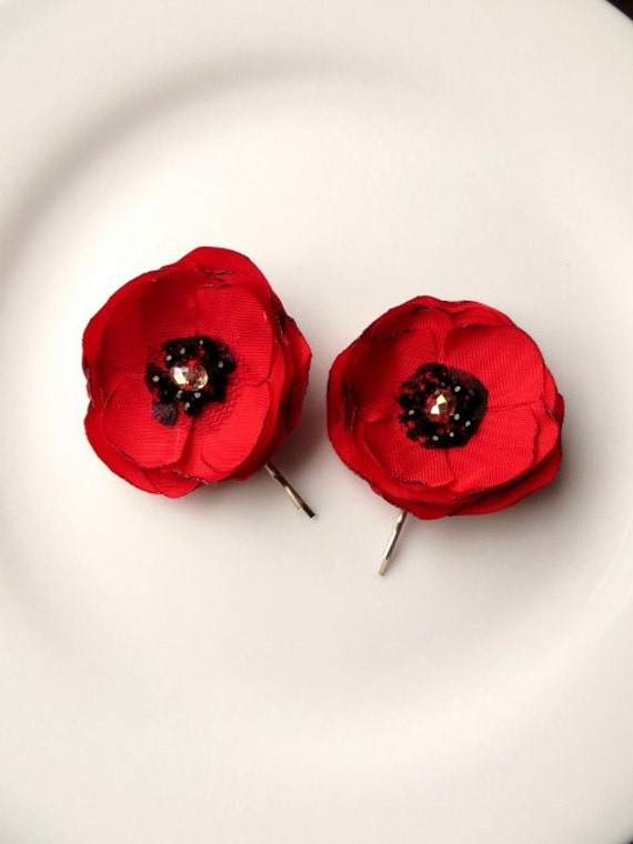 2 Piece Silk Poppies Fabric Poppy Flower Hair Accessories Red