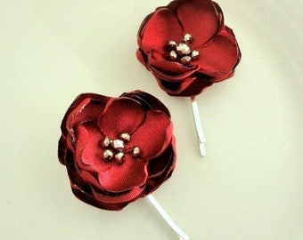 2 Small Red Fall Floral hair Pins Silk Flowers for Hair, Shoe Clip, HairPin Bobby Cranberry Burgundy Flowers, Silver Bead, beaded, beading