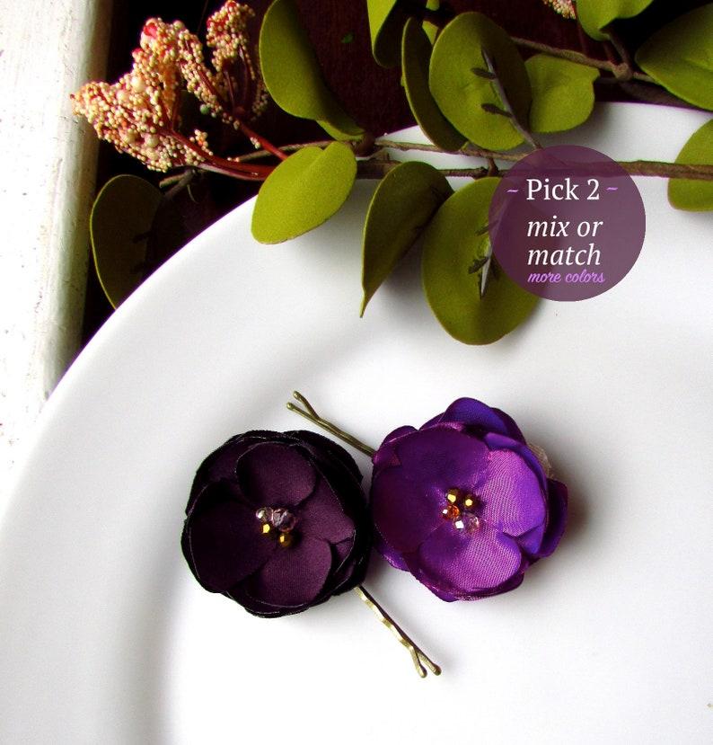 Eggplant Violet Berry Magenta Plum Silk Purple Fabric Flowers Hair Pieces Girls Dress Pin Sash Belt Brooch PICK 2 Mix Or Match