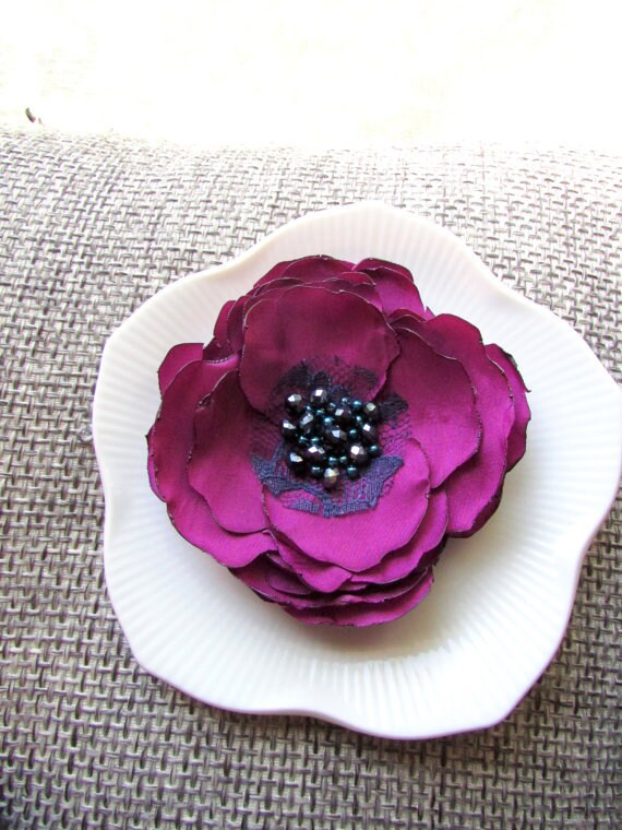 Handmade satin flower large silk floral brooch womens etsy image 0 mightylinksfo