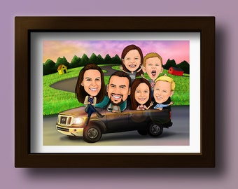 Custom Family Digital Caricature / Anniversary Caricature / Family Caricature Drawing / Personalised Caricature / Group Caricature Portrait