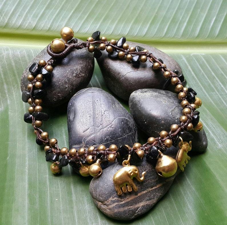 Bells and Brass Elephant Charms  Yoga Wear  Festival Fashion  Boho  Meditation Stone Black Onyx Bohemian Anklet with Brass Beads