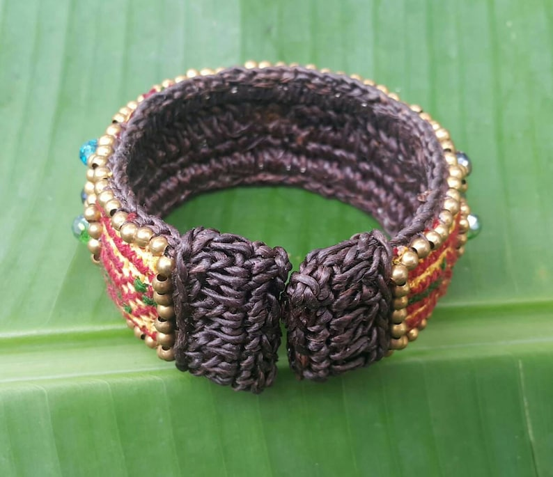 Hilltribe Boho Bangle With Hand Woven Hmong Hilltribe Fabric Crystal Beads Brass Beads and Wax Cord for her  for mom