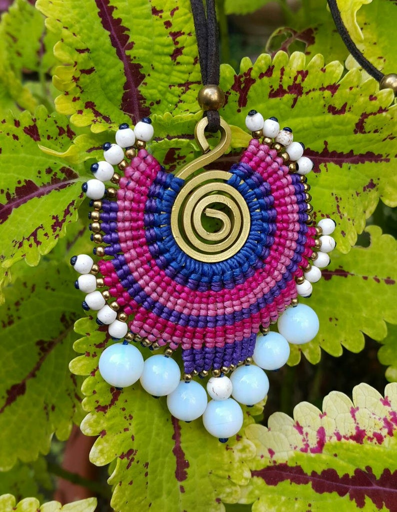 Boho Macrame Woven Pendant With Moonstones Copper Wire and Colored Nylon Wax Cord  for her  for mom  for gift Brass Beads