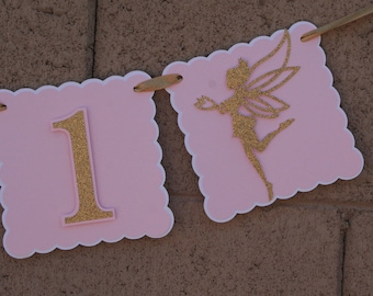 Gold glitter and Pink. Fairy Banner. I am 1 gold glitter banner. Photo Prop. Fairy decoration. Happy Birthday Banner.