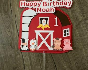 Farm cake topper. Farm theme birthday. Barnyard cake topper.