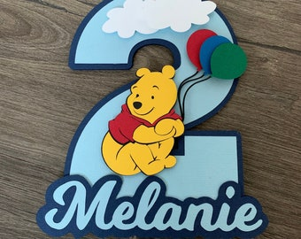 Winnie Pooh Cake Topper. WInnie The Pooh Cake Topper. Happy Birthday Sign. Baby Shower. Centerpiece Decorations.
