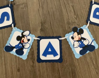 Mickey Mouse baby shower banner. It's a boy banner. Baby boy. Shades of blue banner