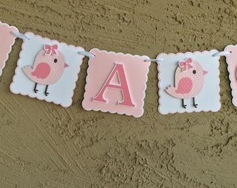 Baby shower banner. It's A Girl. Pink bird baby shower sign. Little Birdie baby shower banner. It's a girl pink banner
