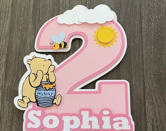 Pooh Cake Topper. Classic Winnie the pooh cake topper. Second birthday. Pink