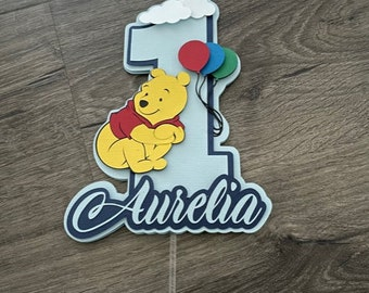 Pooh Cake Topper. WInnie The Pooh Cake Topper. Happy Birthday Sign. Baby Shower. Centerpiece Decorations.