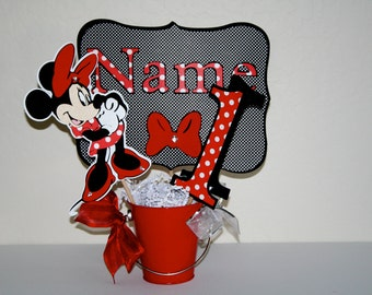 Minnie Mouse Birthday Centerpiece Cutouts -  Polka Dots, Party Sign, HAPPY BIRTHDAY, Disney, Table Decoration