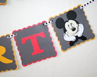 Mickey Mouse Birthday Banner - Disney HAPPY BIRTHDAY sign, Party Decoration, Partyware, 3 Rows