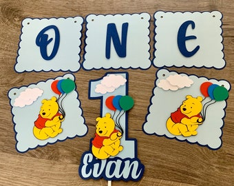 Winnie the Pooh Banner and Personalized Cake Topper. I am 1, Photo prop. Happy Birthday , Pooh DecoratIons.