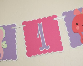 Beach Fun Birthday Banner - 1 row, 1st Birthday, First Birthday, Birthday Sign, Party Decoration
