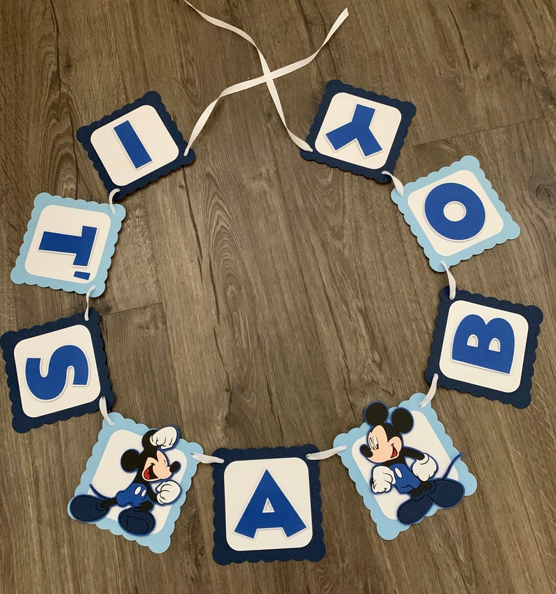 Shades of blue banner Baby boy Mickey Mouse baby shower banner It\u2019s a boy banner