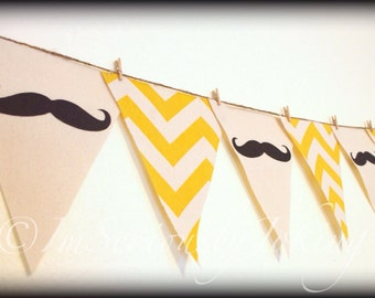 Mustache Banner - Party Banner-Mustache bunting-Yellow Chevron-Little Man Party-Mustache Party-Baby shower banner-Gender reveal-birthday