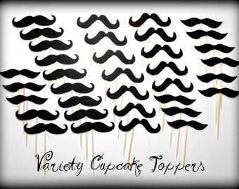Mustache Cupcake Toppers-35 pack-Moustache- Mustache on a Stick-Little Man Party-Mustache Party-Baby Shower-Cupcake Toppers-Mustache Theme