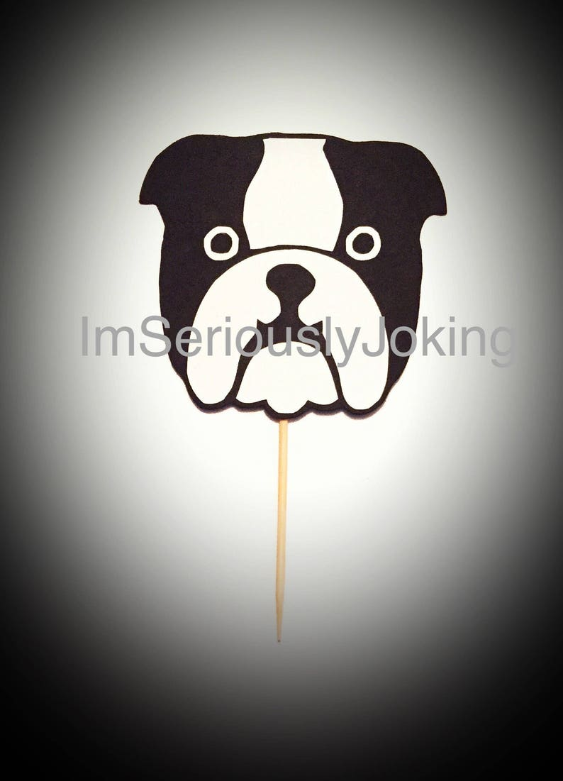 Cupcake Toppers-12 Bulldog Cupcake Toppers Frenchie Birthday party-dog party-puppy-mans best friend-rescue dog