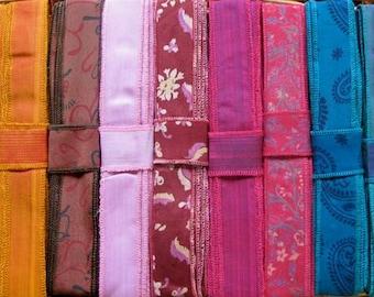 Silk Ribbon, Silk Trim, 33 Yards, 10 colours. R65