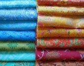 75 pieces of Silk remnants, silk fabric scraps, Vintage fabrics