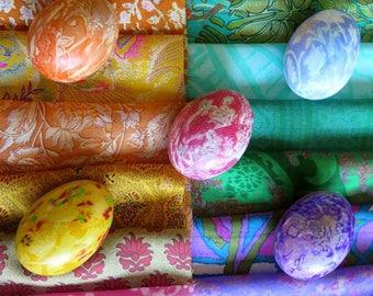 Egg dyeing silk, sari silk remnants, silk pieces, silk squares, Easter eggs