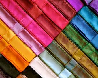 Hand Dyed Silk Ribbon, Bracelet Ribbon, 75 Yards, 24 colours. B32