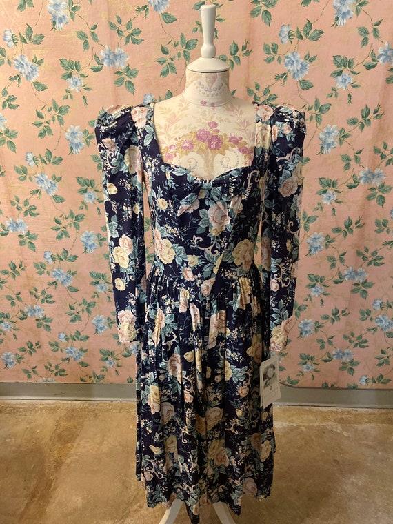 1980's Jessica McClintock Puff Sleeve Dress