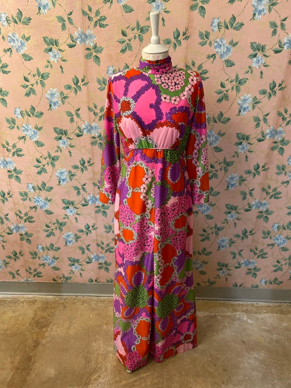 1960's Psychedelic Floral Festival Maxi Dress