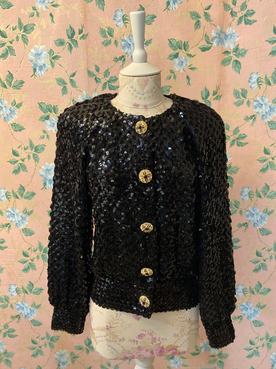 1980's Lillie Rubin Sequin Holiday Cardigan