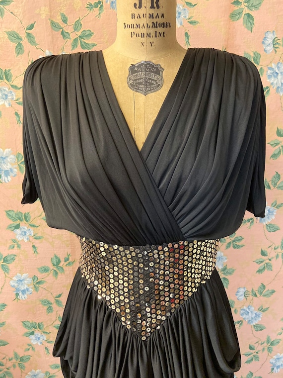1980's Tadashi Black Sequin Cocktail Dress