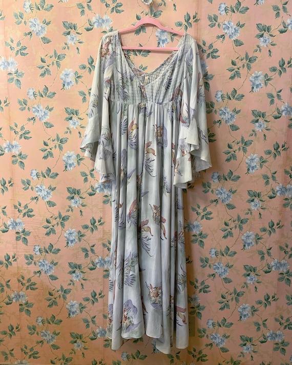 1970's cotton angel sleeve maxi hippie dress Size