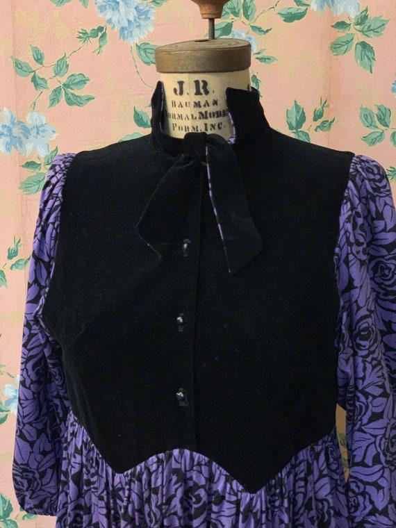 1970's Purple Floral Velvet Renaissance Dress