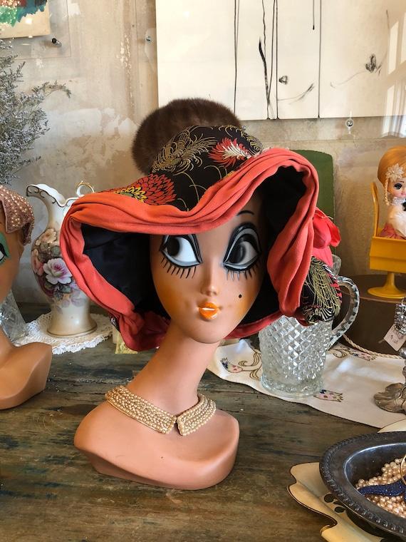 Vintage floral 1930's floppy sun hat! Gorgeous!