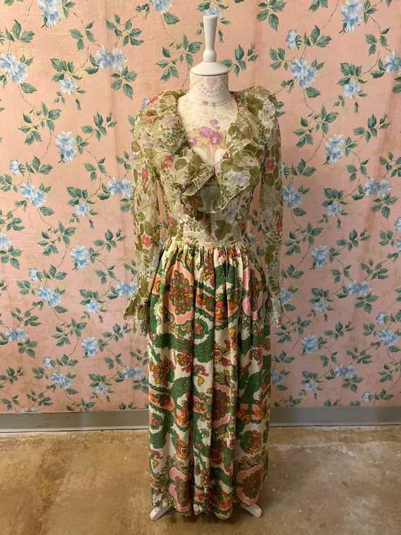 1970's Ruffle Renaissance Romantic Dress
