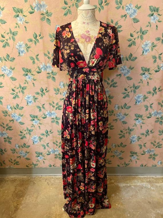 1960's Floral Maxi Dress
