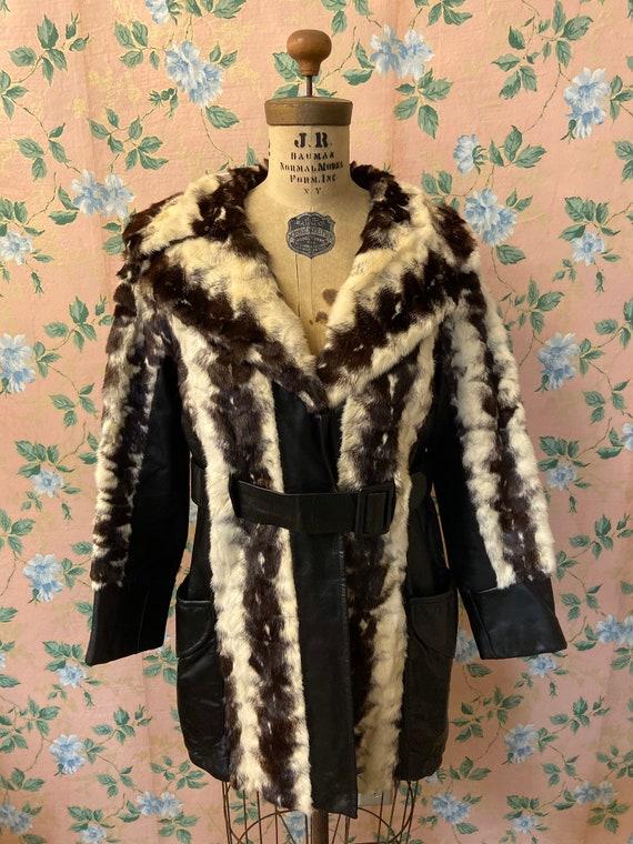 1970's Genuine Leather Fur Coat