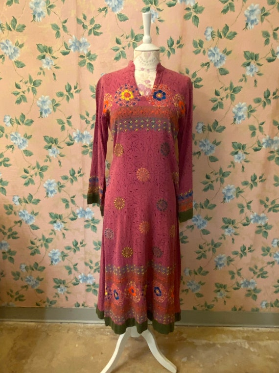 1960's Hand Embroidered Hippie Kaftan Dress