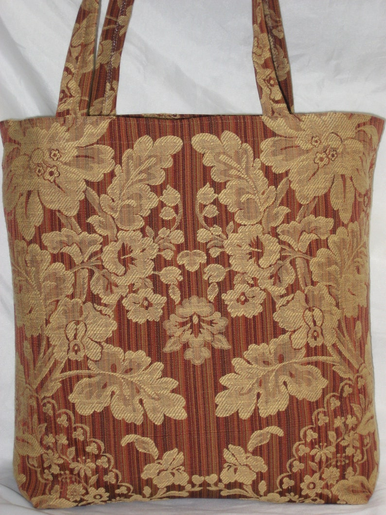 Shopping Tote~Market Bag~Grocery Tote~Aldi Grocery Bags~Earth /& Environmentally Friendly~Recycled~Eco Chic~Custom Made~Damask~Sumatra~Red