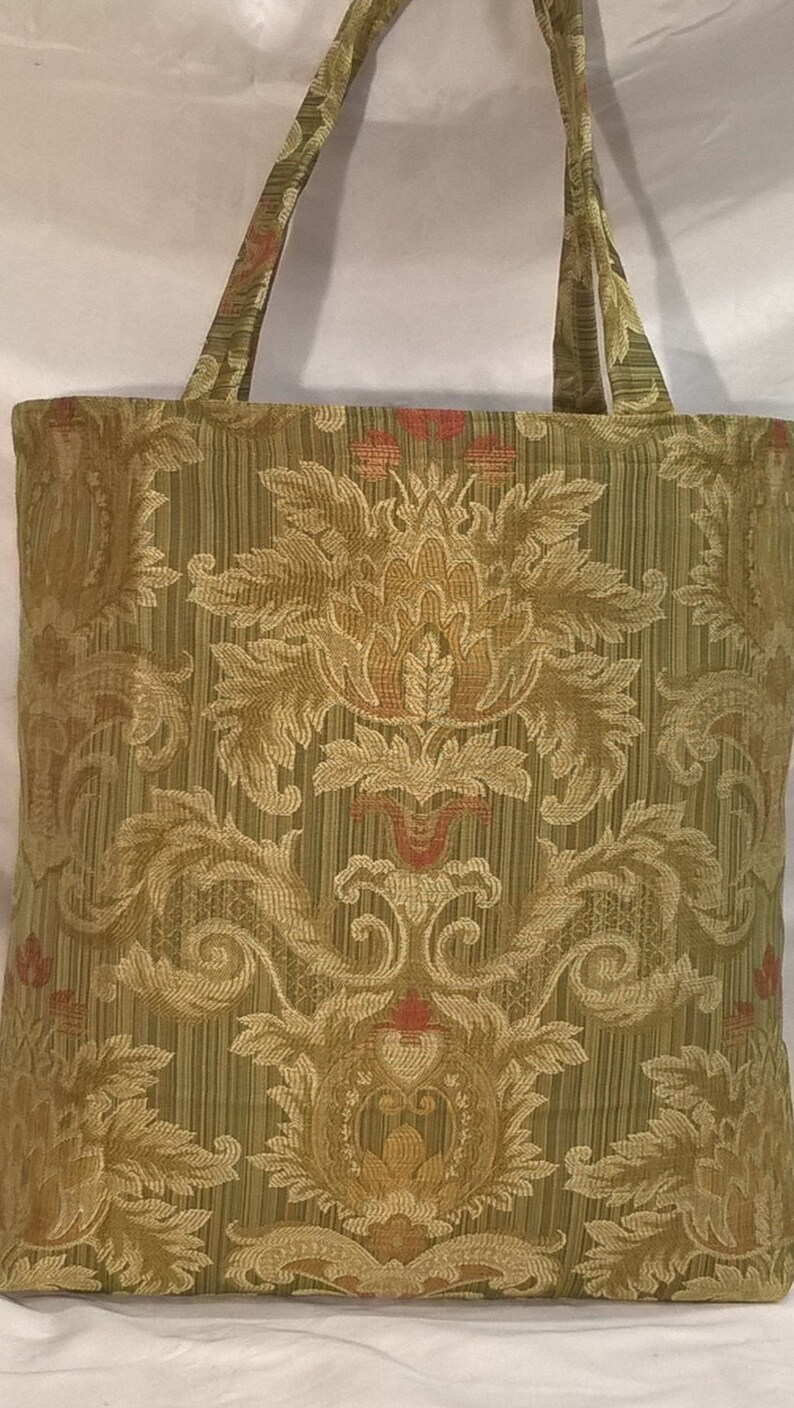 Shopping Tote~Market Bag~Grocery Tote~Aldi Grocery Bags~Earth /& Environmentally Friendly~Eco Chic~Knitting Bag~Damask~Romanesque~34445~Moss